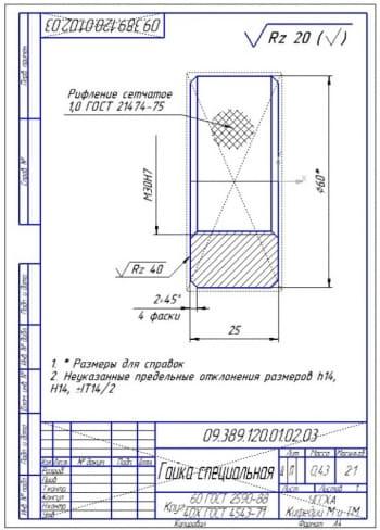 14.Деталировка конструкции – гайка специальная (формат А4)