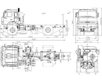 Чертежи общего вида автомобиля КАМАЗ-4326 в двух проекциях