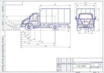 Чертеж автомобиля ГАЗ 33104