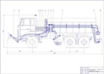 Чертеж снегоуборочной машины с детализацией гидропривода