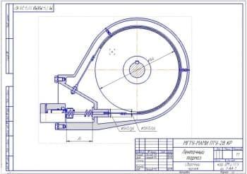 Сборочный чертеж ленточного тормоза с выполнением всех необходимых выносных размеров