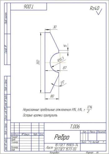Рабочий чертеж детали ребро с техническими требованиями