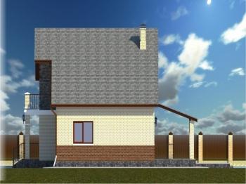 15.3-D модель левого бокового фасада дома