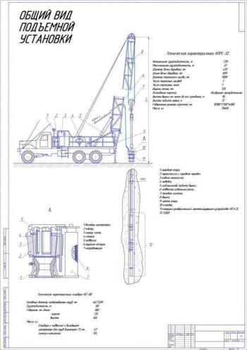 Чертежи общего вида и сборочные подъемной установки грузоподъемностью 32 тонны на базе автомобиля