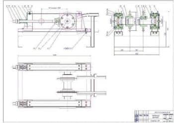 Сборочный чертеж натяжного устройства в трех проекциях с размерами (формат А1)