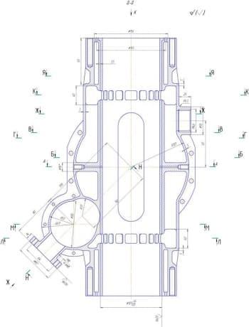 Схема продольного разреза  картера чертеж