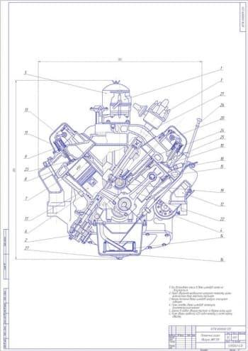 Чертеж поперечного разреза V-образного двигателя автомобиля ЗИЛ-138 с разработкой чертежей рабочих деталей двигателя