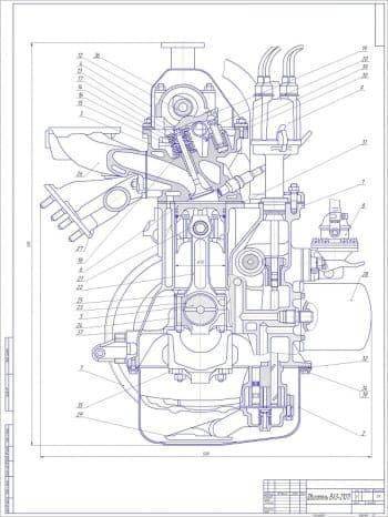 Сборочный чертеж двигателя автомобиля ВАЗ-21011