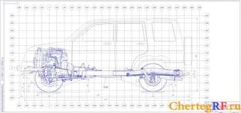 Чертеж вид общий автомобиля УАЗ