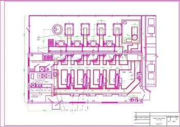 Чертеж комбинированной принципиальной схемы компрессорного агрегата компрессорной станции 4(З)К-24А плана расположения оборудования компрессорной станции