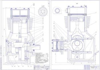 Чертеж общего вида компрессора поршневого с приводом по схеме С.С.Баландина