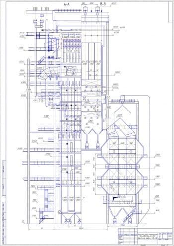 Чертежи общего вида котлоагрегата Eп-670-13.8-545 БT, заводской модели ТПЕ-216