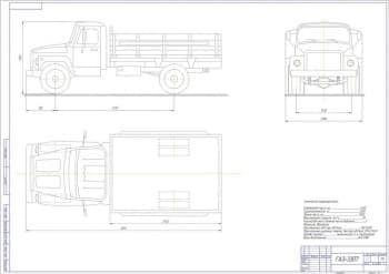 Чертеж автомобиля грузового модели ГАЗ-3307
