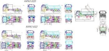 Чертежи грузовых самосвалов КамАЗ-6520 и КамАЗ-6522