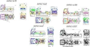 Чертежи тягачей моделей КамА3-54115, КамА3-5460, КамА3-44108, КамА3-6460 и КамА3-63501