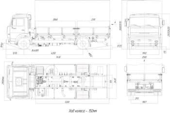 Чертеж грузового автомобиля КамАЗ 4308 бортового