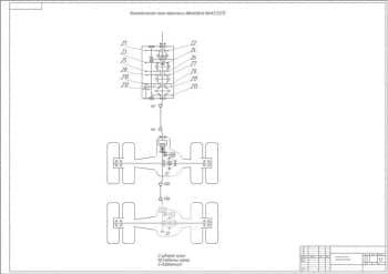 Чертеж кинематической схемы грузового автомобиля модели КАМАЗ 53212