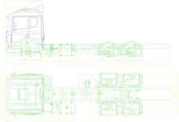 Чертеж габаритный автомобиля грузового модели Scania