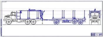 Чертеж общего вида автомобиля-тягача КРАЗ с полуприцепом для перевозки сортамента и манипулятором