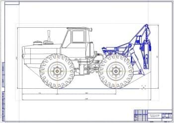 Чертеж лесопромышленного трактора модели ЛТ-157