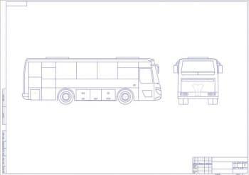 Схематичный чертеж общего вида автобуса ПАЗ-4230