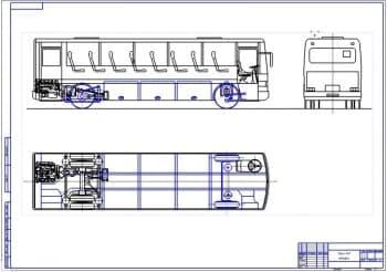 Схематичный чертеж общего вида пассажирского автобуса LT