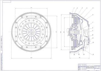 Чертеж сборочный однодискового сцепления с дифференциальной пружиной автомобиля ВАЗ 2107