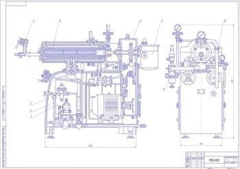 Чертеж сборочный фризера модели Е4-ОФЛ для изготовления мороженого