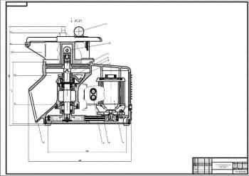 Сборочные чертежи протирочно-резательной машины МПР-350, протирочного сита машины и кинематической схемы