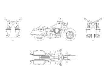 17.Чертеж вида общего мотоцикла Harley в различных проекциях – виды спереди, сбоку, сзади и сверху (формат А1)