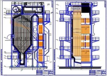 Сборочные чертежи парового котла типа Т-35/40 для сжигания жидкого и газового топлива