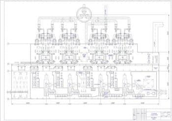 Чертеж ТЭЦ 1000 МВт с блоками 250 МВт: поперечный разрез главного корпуса и план главного корпуса