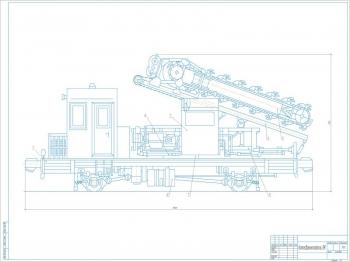Чертеж вид общий гусеничный Т-170-трубоукладчик ТГ-124