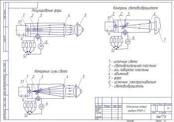 Чертеж оптической камеры прибора для проверки освещения и регулировки света фар автомобилей