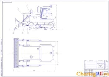 Чертежи трактор-бульдозер Т-130 с неповоротным отвалом