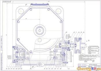 Сборочный чертеж цилиндрическо-червячного редуктора с техническими характеристиками, выносными разрезами и монтажной схемой