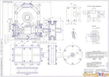 Сборочные чертежи в разрезе редуктора червячного типа с техническими требованиями с монтажной схемой и габаритными размерами