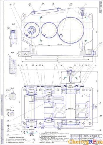 Сборочный чертеж редуктора привода конвейера ленточного типа с указанием технических характеристик