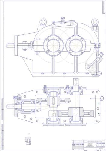 Чертеж сборочный коническо-цилиндрического редуктора с техническими требованиями