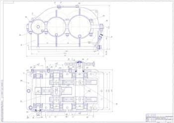 Сборочный чертеж двухступенчатого цилиндрического зубчатого редуктора