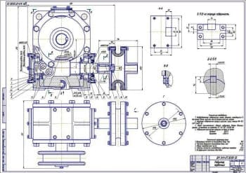 Сборочные чертежи червячного редуктора с габаритными размерами и монтажной схемой