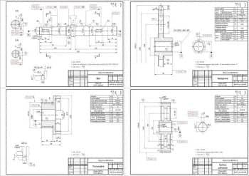 Чертежи двухступенчатого цилиндрического редуктора в сборе с построением эпюр нагрузок на вал редуктора