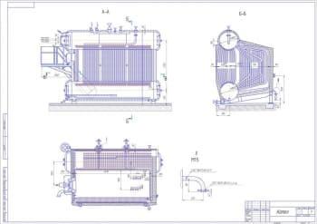 Чертеж общего вида парового газомазутного котла ДЕ-10-14ГМ