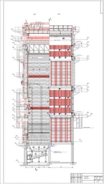 1.Чертеж общего вида котла ПК-10 в поперечном разрезе (разрезы А-А и Б-Б), в масштабе 1:40, с размерами (формат А1)