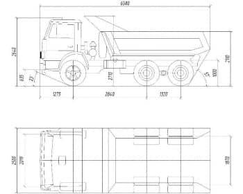 18.Общего вида чертеж автомобиля грузового КамАЗ-55111 в 2х проекциях – виды сбоку и сверху, с основными размерами (формат А1)