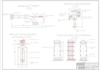 Комплект готовых чертежей устройства котельной с построением календарного плана, конструктивной, тепловой и принципиальной схем, теплотрассы
