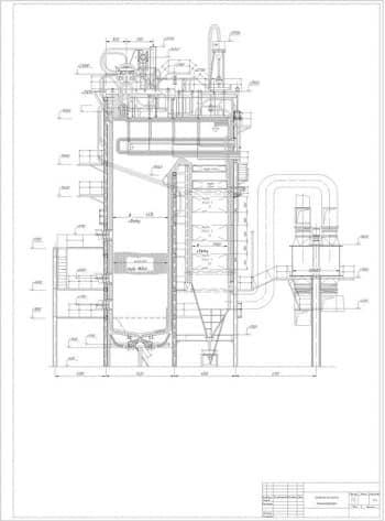 Чертеж общего вида парового котла модели Е-160-100 ГМ