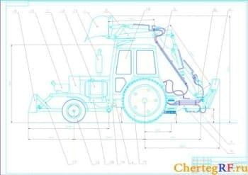 Чертеж в программах Компас 3D v15, AutoCAD: вид общий экскаватора ЭО-2126 В2 на базе трактора МТЗ с техническими характеристиками (формат А1)