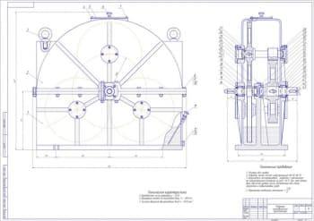 Чертежи общего вида привода ленточного конвейера, трехпоточного цилиндрического редуктора в сборе, приводного вала, рамы привода и деталей