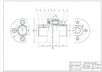 1.Сборочный чертеж муфты упругой втулочно-пальцевой в масштабе 1:1 (формат А1)